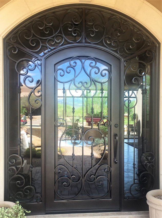 Entry Doors With Sidelights Single Wrought Iron Phoenix Valley